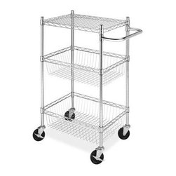 Whitmor - Commerical 3 Tier Basket Cart - Whitmor's Supreme Commercial Carts feature a durable chromed steel frame and extra strong wire shelves. Two of the four heavy duty wheels feature a locking option for solid shelf unit placement. They are easy to assemble with no tools needed and as a part of Whitmor's Supreme Chrome Collection come with a 10 year warranty. These carts are perfect for attic  garage  kitchen  office  bathroom  laundry room or anywhere you may need extra storage with a portability feature. The 6057-4308-BB Supreme Commercial 3 Tier Baskets Cart features 2 sturdy wire basket shelves   a top shelf and a chromed steel handle to aid in portability.  This item cannot be shipped to APO/FPO addresses. Please accept our apologies.