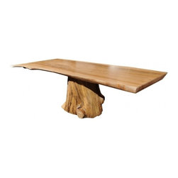 EcoFirstArt - Contemporary Elm Dining Table - A STUNNING DINING TABLE MADE OF A HAND CARVED ELM TOP RESTING ON A FOUND TREE TRUNK BASE. THE BASE WAS RECLAIMED FROM THE SEA AND IS QUITE OLD. THIS TABLE WAS DESIGNED AND EXECUTED AT THE DEL BRANDSTROM STUDIO IN NORTHERN CALIFORNIA.