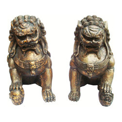 "Pair Solid Wood Hand Carved Foo Dogs - Majestic, antique and stunning.  Almost life size dogs at 19"" high and 10"" wide  sitting. They are impressive enough in stature to fend off nearly any negative presence and protect your dwelling. Their faces show expression that surely means business. Aged dark brown with a golden surface glow to highlight the exquisitely hand carved details. These are heavy and solid. This pair weighs in at a hefty 47 pounds!!"