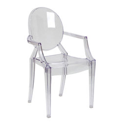 Flash Furniture - Flash Furniture Ghost Chair w/ Arms in Transparent Crystal - FH-124-APC-CLR-GG - Create a beautiful and artistic statement with the Louis Inspired Ghost chair. This chair will lighten up any room and provide a grand statement. The transparency of the chair allows it to take up less space visually as with a solid chair. The versatility of this chair makes it look great in any contemporary indoor setting, but suitable for outdoor seating as well. Showing off this masterpiece will also not break your budget, but will just look like you did! The lightweight quality built chair was built to give you years of use and comfort. [FH-124-APC-CLR-GG]