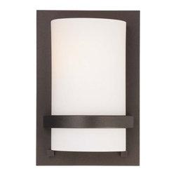 Minka-Lavery - Fieldale Lodge Smoked Iron ADA Wall Sconce - -Single Light Wall Sconce in Smoked Iron Finish with Etched Opal Glass Minka-Lavery - 342-172