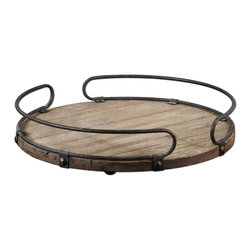 Uttermost - Uttermost Acela Round Wine Tray - Natural fir wood base with aged metal details.