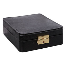 Budd Leather - Leather 15 Section Ring/Earring Box, Black - Leather 15 Section Ring/Earring Box, Black