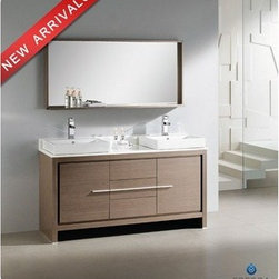 "Fresca - Fresca Allier 60"" Gray Oak Modern Double Sink Bathroom Vanity with Mirror - The Fresca 60"" Allier double sink bathroom vanity is the perfect model for the newlywed. It offers his and hers separate sinks, along with a unique square design. Plenty of storage space is available with an additional shelf on the matching mirror. Many faucet styles to choose from. Features Materials: Plywood w/ Veneer, Stone Countertop, Ceramic Sinks with Overflow Single Hole Faucet Mounts (Faucets Shown In Picture May No Longer Be Available So Please Check Compatible Faucet List) P-traps, Faucets, Pop-Up Drains and Installation Hardware Included Overflow: Yes How to handle your counterInstallation Guide"