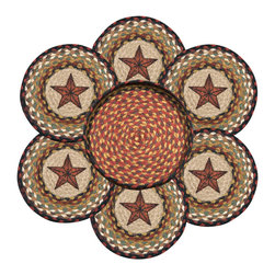 Earth Rugs - Barn Star Round Trivets in a Basket (Set of 7) - Our Jute products are crafted with sustainably harvested jute, a fast-growing, renewable natural fiber. The jute is then hand braided into unique patterns.