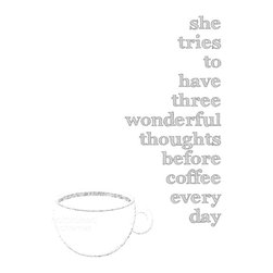 """Hairbrained Schemes - Kitchen Coffee Beautiful Thoughts Art Print - This print is 8x10"""" unmatted and unframed. Printed with premium fade-resistant inks on high quality Epson luster archival paper. Carefully packed in a protective sleeve and shipped in a sturdy cardboard mailer to prevent damage. Colors may vary slightly different than displayed on your monitor."""