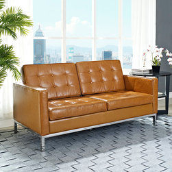 Florence Style Tan Leather Loft Loveseat - The Leather Loft Loveseat offers a stunning and luxurious look that will instantly enhance any space. This mid-century modern leather love seat is inspired by the designs of Florence Knoll 1954 lounge collection, and has a recognizable mid-century modern style.The simple style of the Loft Loveseat in leather upholstery makes for a clean, sharp look. Tufted accents create a beautiful pattern, and the couch's low profile makes the loft sofa an ideal item small space. Features a polished stainless steel frame, and high quality leather cushions that attach by velcro to the back.This item is a high quality reproduction of the original.