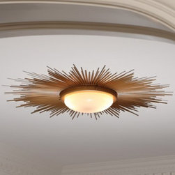 Sunburst Light Fixture – Gold | Pulp Home - This dynamic starburst flush mount ceiling fixture is perfect for adding a drama and ambience to a space with low ceilings. (Direct wire. 12″ frosted shade.) FINISH: Gold, Frosted Glass