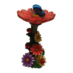 Alpine Fountains - Flower Birdfeeder - Made of Fiber Stone. 1 Year Limited Warranty. Assembly Required. Overall Dimensions: 7 in. L x 7 in. W x 13 in. H (1.87 lbs)Add a fun look to your landscape with these delightful garden statuaries. You can group them in your walkway, garden and pond or use individually around your deck or patio. These unique figures are made with the precision of fine detailed craftsmanship.