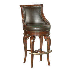 Ambella Home - Tatum Swivel Barstool - Dark Leather - Bring a clubby, comfy feeling to your decor. This beautifully carved wood and leather stool, generously detailed with studs, encourages warmth and camaraderie in your favorite setting.