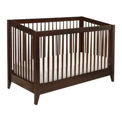 "Da Vinci - DaVinci Highland 4-in-1 Convertible Crib with Toddler Rail in Espresso - Da Vinci - Cribs - M3601Q - With strong lines and gently-tapered spindles the Highland 4-in-1 Crib commemorates classic American design. Crafted under DaVinci Babys quality and safety commitments Highland gives mid-century influences a front-row place in the present. Highland Crib converts into a day bed toddler bed (rail included) and full-size bed (full-size rails available separately). The chestnut finish with natural spindles imparts sincere subtle warmth. Built for years of safe dreams Highland Crib is made of solid New Zealand pine wood and is lead and phthalate-safe. Espresso FinishMaterials: New Zealand Wood4-in-1 (toddler rail included)Four adjustable mattress levelsRound tapered spindles (high design)Strong straight lines (Ref. to Mission/Craftsman furniture)Note: Full-size bed rails not included (matches with M5789)1 Year warrantySpecifications:Overall product dimensions: 39"" H x 30.75"" W x 55.875"" D"