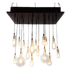 Industrial Lightworks - Rustic Industrial Chandelier with Edison Bulbs, Socket Option: Oil Rubbed Bronze - Rustic Urban 16 Light Chandelier