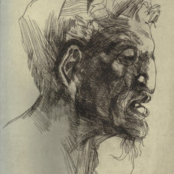"""After Michelangelo (Satyr)"" Artwork - This is a study of Michelangelo's drawing of the Satyr. It is an engraving printed on Rives BFK paper. The image displays only the plate, but the paper size is vertically oblong. It is signed, dated and titled just below the register of the plate."
