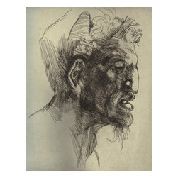 After Michelangelo (Satyr), Limited Edition, Hand Printed Work - This is a study of Michelangelo's drawing of the Satyr. It is an engraving printed on Rives BFK paper. The image displays only the plate, but the paper size is vertically oblong. It is signed, dated and titled just below the register of the plate.