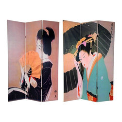 Oriental Furniture - 6 ft. Tall Double Sided Geisha Room Divider - The images printed on the front and back are reproductions of classic turn of the century block art prints of traditional Japanese geisha. The front side is a geisha holding a parasol, in a lovely sea green kimono with a fine red and gold obi (sash). On the back side image, the lady holds a fan, wearing an elegant black kimono with a white obi (sash). Note the Japanese kanji characters on both prints, front and back.