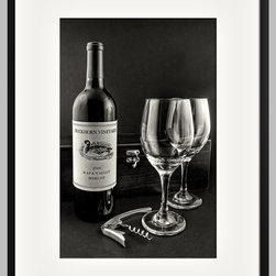 Setting for Two by Jeff Burton - Setting for Two by Jeff Burton. A bottle of wine and a couple of glasses combine to create this beautiful scene. The bottle of vintage Duckhorn Vineyards Merlot is ready to be opened with the wine opener placed at its base. The glasses, two of them, suggest the possibility of sharing the moment with another. We are also intrigued by the possibility of what is hidden inside the wooden wine box. Could there be another bottle? We might need some more glasses if there is.
