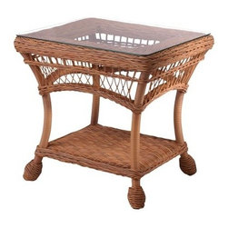 Whitecraft by Woodard Cottage End Table with Glass Top - With its classic wicker look and beautiful detailing, the Whitecraft by Woodard Cottage End Table with Glass Top is an elegant addition to any patio furniture set. Weather-resistant synthetic fibers are hand woven over a strong and durable aluminum frame to create an end table that will retain its beauty and integrity for years to come. This resin won't fade, warp, rot, or mildew and can stay out year-round. A bottom shelf gives you extra storage space while the glass top is the perfect spot for resting your glass, book, or laptop. Available in your choice of gorgeous finishes, you'll be able to complement your existing patio decor with ease. Its sophisticated elegance creates a look that will never go out of style. Woodard: Hand-crafted to Withstand the Test of TimeFor over 140 years, Woodard craftsmen have designed and manufactured products loyal to the timeless art of quality furniture construction. Using the age-old art of hand-forming and the latest in high-tech manufacturing, Woodard remains committed to creating products that will provide years of enjoyment. Superior Materials for Lasting DurabilityAll Seasons Outdoor Wicker is the latest addition to the Woodard line of quality furniture. Each piece is constructed using cutting-edge synthetic fibers, hand-woven over an aluminum frame. With this combination of resilient, weather-resistant materials and Woodard's quality workmanship, All Seasons Wicker will retain its beauty and integrity for years. Most Woodard furniture is assembled by experienced professionals before being shipped. That means you can enjoy your furniture immediately and with confidence. Together, these elements set Woodard furniture apart from all others. When you purchase Woodard, you purchase a history of quality and excellence, and furniture that will last well into the future. Important NoticeThis item is custom-made to order, which means production begins immediately upon receipt of each order. Because of this, cancellations must be made via telephone to 1-800-351-5699 within 24 hours of order placement. Emails are not currently acceptable forms of cancellation. Thank you for your consideration in this matter.