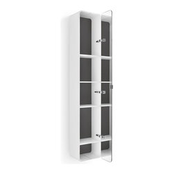 WS Bath Collections - 63.4 in. Bathroom Cabinet in White and Dark G - Contemporary design. Four shelves. Mirrored door. Designer high end quality. Warranty: One year. Made from plywood and stainless steel. Made in Italy. 12 in. W x 8.1 in. D x 63.4 in. H (50 lbs.). Spec Sheet