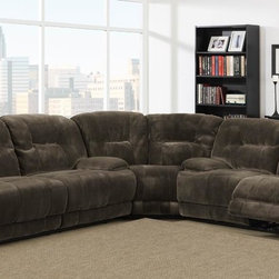 Homelegance - Homelegance Geoffrey Reclining Sectional in Chocolate Plush Microfiber - Sure to please the gadget lover in any household is the Geoffrey Collection. With the touch of a button you automatically recline in this comfortable seating offering. Further enhancing this electronic wonder is the textured chocolate plush microfiber cover. Also available in traditional manual pull reclining mechanism.
