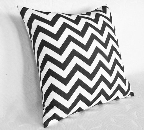 Black and White Chevron Pillow - You can't have pillows without some chevron. I'd especially like this pillow in another color other than black, like bright orange, red, or green. I love having geometric design in a room, especially on a simple, monochromatic couch.