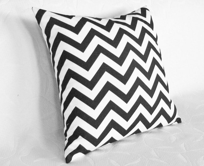 Contemporary Decorative Pillows Black and White Chevron Pillow