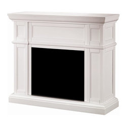 ClassicFlame - Artesian Fireplace Mantel in White Finish - Top features crown molding. Beveled step-out face panel. Prominent base with bull nose edge molding. Decorative frame and panel side and center details. 48 in. W x 15.25 in. D x 33.25 in. H