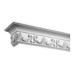"Inviting Home - St. Florent Crown Molding - 12 foot length - decorative crown molding 5-9/16""H x 3-3/8""P x 6-7/16""F x 12'00""L repeat - 8-11/16"" 4 piece minimum order required crown molding specifications: - outstanding quality crown molding made from high density polyurethane: environmentally friendly material is hypoallergenic and fully recyclable no CFC no PVC no formaldehyde; - front surface of this molding has extra durable and smooth surface; - crown molding is pre-primed with water-based white paint; - lightweight durable and easy to install using common woodworking tools; - metal dies were used for consistent quality and perfect part to part match for hassle free installation; - this crown molding has sharp deep and highly defined design; - matching flexible molding available; - crown molding can be finished with any quality paints; Polyurethane is a high density material--it's extremely lightweight and easy to install (and comes primed and ready to paint). It is a green material meaning its CFC and formaldehyde free. It is also moisture resistant--so it won't shrink flex or mold. What's also great about Polyurethane is that it's completely customizable and can be treated as wood (you can saw it nail it screw it and sand it). In addition our polyurethane material comes primed and ready to paint. There is a four piece minimum requirement for this molding purchase."