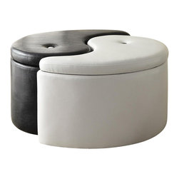 Coaster - Coaster Storage Ottoman Ying Yang in Black and White - Coaster - Ottomans - 501104 -Create perfect balance and harmony in your room with this black and white storage ottoman. Each piece of this two-piece set opens up to reveal hidden storage. One contrasting button-tuft decorates the top.