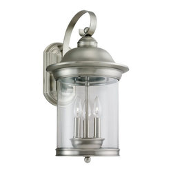 Seagull - Seagull Hermitage Outdoor Wall Mount Light Fixture in Antique Brushed Nickel - Shown in picture: 88083-965 Three Light Antique Brushed Nickel Lantern in Antique Brushed Nickel finish with Clear Glass