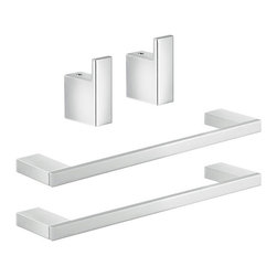 Gedy - Chrome Towel Bar and Robe Hook Accessory Set - .