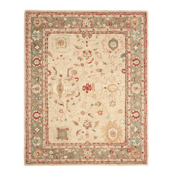 Safavieh - Safavieh Anatolia Large Rectangular Rug in Beige, Green, 9'x12' - Anatolia Collection Brings Old World Sophistication and Quality in New Tufted Rugs. This Collection Captures the Authentic Look and Feel of the Decorative Rugs Made in the Late 19Th Century in This Region. Hand Spun Wool and an Ancient Pot Dying Technique Together with a Densely Woven Thick Pile, Gives Anatolia Rugs Their Authentic Finish. What's included: Area Rug (1).