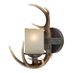 Vaxcel - Vaxcel W0032 Yoho 1L Vanity - Vaxcel Lighting W0032 Yoho 1 Light Wall Sconce This Vaxcel Lighting item has a black walnut finish. It is available with crme cognac glass. For use with
