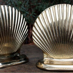 "Vintage Brass Clam Shell Bookends - Lovely solid brass set of bookends measuring 5"" high and 5"" wide. Perfect way to add some sparkle to a bookshelf or display."