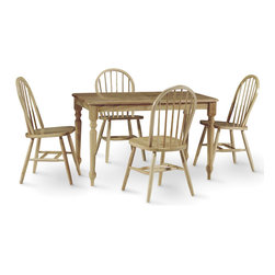 International Concepts - 5 Pc Rectangular Dinette Table & Chair Set in - Enjoy the classic design of this rectangular dinette table that comes with four attractive chairs.  Its natural finish is as pleasant as its turned legs, which are detailed with spherical accents and pointed feet.  It's a great place for the family to gather around. * Includes 1 rectangular dinette table with butcher block tabletop & 4 Windsor spindle back chairs. Farmhouse style. Turned legs. Solid wood construction in table. Chairs made from Solid Parawood and Veneers. Assembly required for table. Table: 48 in. L x 30 in. W x 29.5 in. H (54 lbs.). Chair: 17.25 in. W x 19 in. D x 37.5 in. H (16 lbs.), Seat height: 18.13 in.