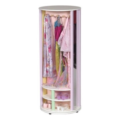 """Guidecraft - Pastel Dress-Up Carousel Armoire - The Pastel Dress-Up Carousel is a great solution for storage and organization of your dress up clothes. There is a hanging area with wooden pegs and eight storage cubbies can be used for shoes, jewelry and hats. There are two large storage bins and two full length mirrors. Features: -For children of all ages -Assembly required -Pastel finish -Lots of storage -Overall dimensions: 49.5"""" H x 19.75 W x 19.75"""" D"""
