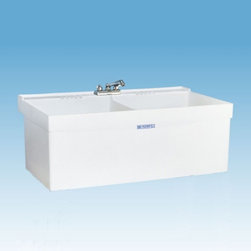 Mustee - Mustee 27W Double Basin Wall Mount Utility Sink - 27W - Shop for Commercial Laundry and Utility from Hayneedle.com! The Mustee 27W Double Basin Wall Mount Utility Sink is a wall-mounted unit that lets you juggle loads without getting in the way. Made from a single-piece of molded Durastone (a mildew-and mold-resistant blend of resin fiberglass and stone) the tubs feature a high back shelf and retainer curb that prevents overflow and spillover. Each tub is 13-inches deep and has a 19-gallon capacity with an integrated leak-proof drain (with stopper). The mounting bracket side supports and installation hardware is all included. Unit is fitted for 4- or 8-inch center drain (not included).About Trumbull IndustriesFounded in 1922 as a single branch plumbing supply house Trumball Industries has evolved over the years in to a privately held corporation and full-line distributor with specialized divisions. With 6 branch locations Trumball Industries has several divisions: an Industrial Division that provides products and services to industrial manufacturers a Home Center Division that offers expertise in all major kitchen and bath products a Municipal Division that offers a full line of water and sewer products and a Master Distribution Center with 500 000 square feet housing over 80 000 products. Aside from providing quality services to their customers the people at Trumbull Industries are happy provide a tour of any of their facilities as well as assist you with any design layout or purchasing decisions.
