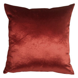 Pillow Decor - Pillow Decor - Milano 16 x 16 Red Decorative Pillow - The Milano 16 x 16 Red Decorative Pillow is a luxurious, high sheen accent pillow, made from an exceptionally soft but durable fabric. The fabric has a flat brushed velveteen finish through which fine, narrow, horizontal lines are cut. This richly colored pillow is elegant and sophisticated and would be suitable in formal and informal settings.
