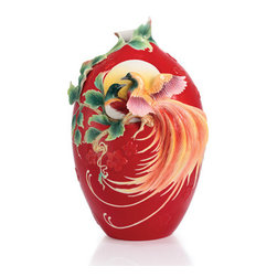 Franz Porcelain - FRANZ PORCELAIN COLLECTION Double Birds Of Paradise And Peach Blossom Large Vase - Finished In Lead Free Glazes * Hand Painted By Franz Porcelain Artisans * FDA Approved Food/Plant Safe * New In The Original Box