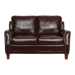 Luke Leather - 153 Sienna Love - Austin Two Seat Italian Leather Loveseat in Sie - Austin collection Loveseat