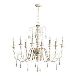 Kathy Kuo Home - Chantilly French Country Parisian Blue White 8 Light Chandelier - Fans of Gustavian style and French Country style lighting, rejoice!  This lovingly distressed eight light chandelier delivers all the understated elegance and textural interest to make it a natural choice. With looped arms adding a sense of motion and decorative flourish, this is a classic example of how fun French Country style chandeliers can be.
