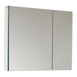 "Fresca - Fresca 30"" Wide Bathroom Medicine Cabinet w/ Mirrors - This 30"" medicine cabinet features mirrors everywhere.  The edges have mirrors and also on the interior of the medicine cabinet.  The inside features two tempered glass shelves.  Can be wall mounted or recessed into the wall."