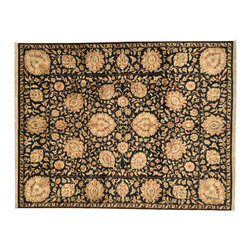 8'X10' Area Rug, 100% Wool 300 Kpsi Hand Knotted Black Tabriz Revival Rug SH7170 - This collection consists of fine knotted rugs.  The knots per square inch means more material in the rug as well as more labor.  This leads to a finer rug and a more expoensive rug.  Classical and traditional persian motifs are usually used as designs in these rugs.
