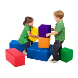 ECR4KIDS SoftZone Big Blocks Soft Play - Set of 7 - The bright block assortment of the ECR4KIDS SoftZone Big Blocks Soft Play - Set of 7 are the raw materials of imagination. Made from soft yet durable polyurethane foam this collection of play blocks will keep the fun going in an endless array of configurations. Polyurethane foam is easy to clean and can hold up to whatever little hands can dish out. This block set is recommended for children age 1 and above. Dimensions: Large block: 16L x 16W x 18H inches Medium block: 16L x 8W x 18H inches Small block: 8L x 8W x 18H inches About Early Childhood ResourcesEarly Childhood Resources is a wholesale manufacturer of early childhood and educational products. It is committed to developing and distributing only the highest-quality products ensuring that these products represent the maximum value in the marketplace. Combining its responsibility to the community and its desire to be environmentally conscious Early Childhood Resources has eliminated almost all of its cardboard waste by implementing commercial Cardboard Shredding equipment in its facilities. You can be assured of maximum value with Early Childhood Resources.