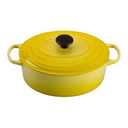 Le Creuset Signature 5 qt. Oval French Oven - Soleil - For a home-cooked stew or succulent braised meats, you'll love having the Le Creuset Signature 5 qt. Oval French Oven – Soleil on hand. This sunny yellow cast iron pot will be responsible for some of your family's favorite meals and best-loved memories. It has a five-quart holding capacity. About Le Creuset of America Inc.From its cast iron cookware to its teakettles and mugs, Le Creuset is a global standard of inimitable color and quality. Founded in 1925 in the northern French town of Fresnoy-Le-Grand, Le Creuset still produces enameled cast iron in its original foundry. Its signature color, Flame, was modeled after the intense orange hue of molten cast iron within a cauldron (or creuset in French), and has been a Le Creuset bestseller from the company's first year to the present day.Though best known for its vibrantly colored cookware and original inventions such as the Dutch oven, Le Creuset has also forged a name as a creator of stoneware mugs and enamel-coated stainless steel teakettles. The style and performance of Le Creuset's Cafe Collection and tea accessories are rooted in classic French cookware: bold colors, cylindrical loop handles, unmatched thermal resistance and heat distribution, and of course the iconic Le Creuset three-ring accent. Through its consistent qualities of authenticity, originality, and innovation, Le Creuset maintains a connection to both heritage and modernity.