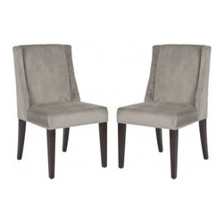 Safavieh - Humphry Dining Chair (Set Of 2) - Mushroom Taupe - Dine in style with the understated elegance of the Humphry side chair. Beautifully transitional, this chair is the perfect complement to contemporary tables, and looks just as great in the living room. With barely there sloped arms, straight birch legs finished in cherry mahogany and mushroom taupe cotton velvet upholstery, the chic Humphry chair gets a punch of pizazz with silver nailheads.