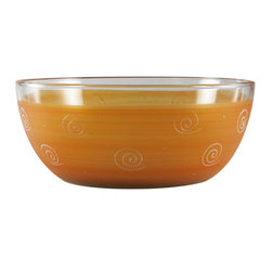 """Frosted Curl Orange 11"""" Bowl - This lovely hand painted 11"""" bowl is one of our top sellers.  It is orange with accent colors and adorned with curls and dots.  Perfect for any season or occasion. It also works perfectly as a dessert dish.  Something to be handed down from generation to generation.  Proudly hand painted in the USA."""