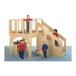 Jonti-Craft - Jonti-Craft Tots Loft - 24-36 Months Multicolor - 9752JC - Shop for Swings Slides and Gyms from Hayneedle.com! Made from the world s strongest plywood this birch Jonti-Craft Tots Loft 24-36 Months provides a safe and sturdy play space for toddlers aged two to three. Safety is paramount in every detail of its design from the KYDZSafe rounded edges to its carpeted stairs and deck and the tall deck enclosure of wood rails and see-through acrylic panels. The ultra-durable KYDZTuff acrylic finish is resistant to wear and stains and easy to wipe clean. Made in the USA this play loft ships ready to assemble and comes with a manufacturer s lifetime guarantee.About Jonti-CraftFamily-owned and operated out of Wabasso Minn. Jonti-Craft is a leading provider of quality furniture for the early learning market. They offer a wide selection of creatively designed products in both wood and laminate materials. Their products are packed with features that make them safe functional and affordable. Jonti-Craft products are built using the strongest construction techniques available to ensure that your furniture purchase will last a lifetime.