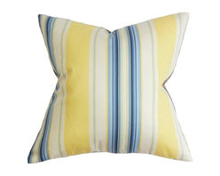 """The Pillow Collection - Douce Stripe Pillow Blue Yellow 20"""" x 20"""" - Bring a touch of practicality to your home with this polished accent pillow. This square pillow features a sleek looking stripe pattern in shades of blue, yellow and white. This decor pillow looks great on its own and can easily blend with other patterns. This 20"""" pillow provides comfort and style. Constructed with 100% soft cotton fabric. Hidden zipper closure for easy cover removal.  Knife edge finish on all four sides.  Reversible pillow with the same fabric on the back side.  Spot cleaning suggested."""