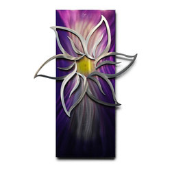 Miles Shay - Metal Wall Art Decor Abstract Contemporary Modern Sculpture - Purple Lotus - This Abstract Metal Wall Art & Sculpture captures the interplay of the highlights and shadows and creates a new three dimensional sense of movement as your view it from different angles.