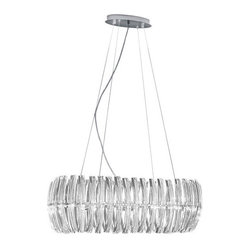 Eglo - Eglo 89204A 8 Light 1 Tier Chandelier Drifter Collection - (Bulbs Inclu - Eglo 89204A Drifter 8 Light 1 Tier ChandelierBeauty in design is the mantra at Eglo, and this chandelier from the Drifter Collection is an stunning example of that philosophy. Unique Specialty Shaped Clear Glass surrounds the bulbs, giving off faceted light in all directions while the Chrome Finish hardware complements the stunning crystalline shapes. This piece is sure to impress all who gaze upon it.Eglo 89204A Features:
